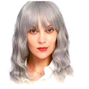 Gray curly haired wig with bangs